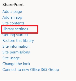 SharePoint  Add a page  Add.Ä!upp  Site contents  Library settings  Restore this library  Site information  Site permissions  Site usage  Change the look  Connect to new Office 365 Group