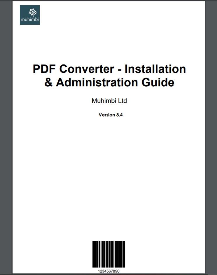 muhimbl  PDF Converter - Installation  & Administration Guide  Muhimbi Ltd  Version