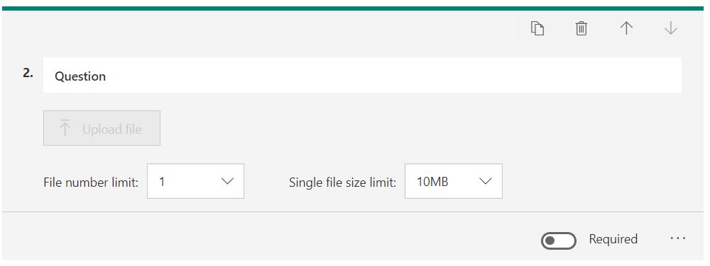 Question  File number limit:  Single file size limit:  IOMB  Required