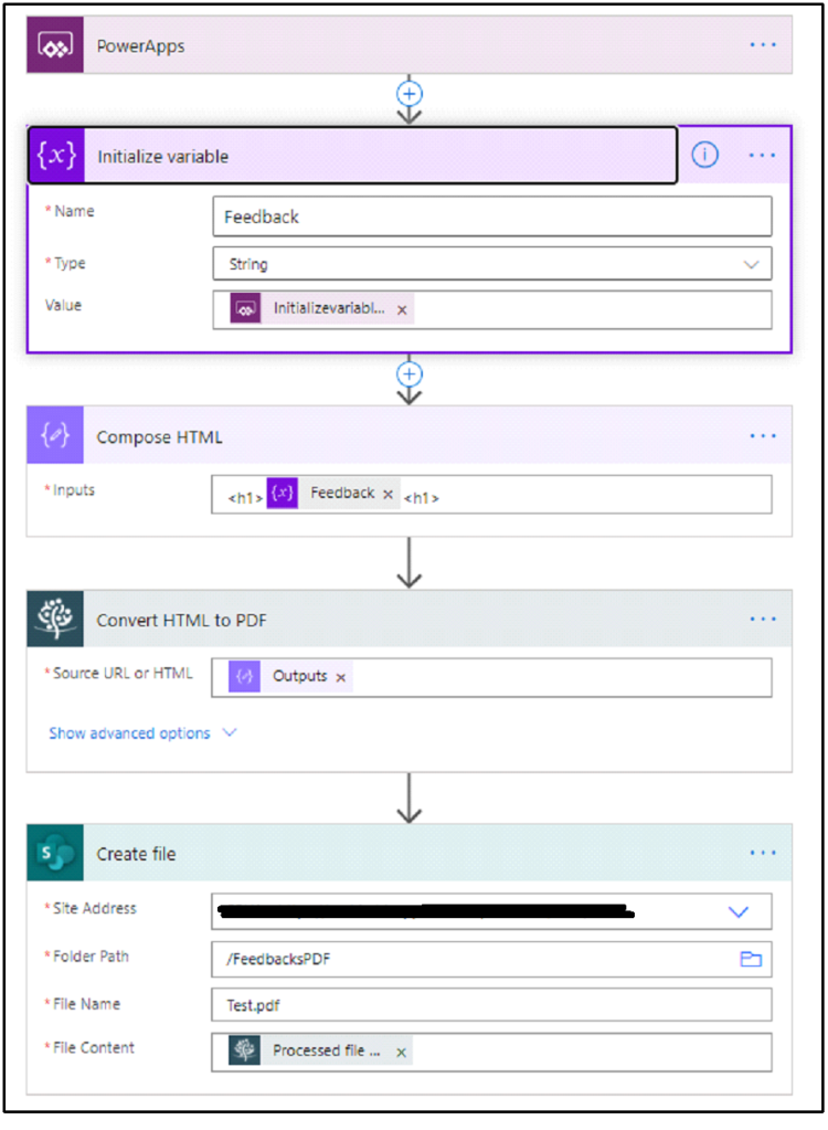 PowerApps  {x}  Initialize variable  O  • Name  Type  Value  Irputs  Feedback  compose HTML  Convert HTML to PDF  Feedback X  • Source JRI_ or HTML  Show aCvanced options v  Create file  • Site Address  Fclder Path  File N•me  • File content  ,'FeecoeusPDF  Testodf  Processed file