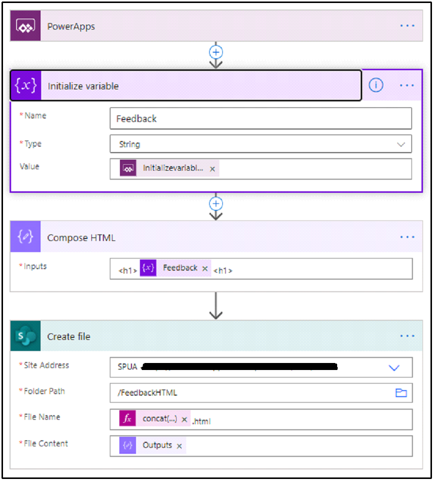 """• Name  VyJue  PowerApps  Initialize variable  Feedback  string  Initializevbriebl...  Compose HTML  o  Create file  • Site Address  Folder Path  File  • File content  Feedback X  SPJA  Feedb""""kHTML  x .htm•  Outputs x"""